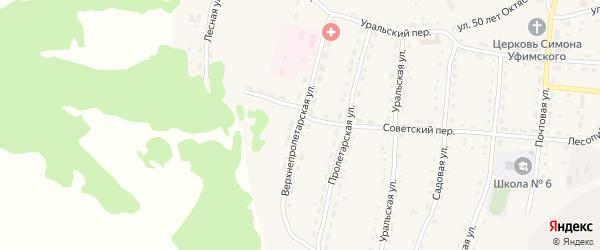 Верхнепролетарская улица на карте села Миндяка с номерами домов