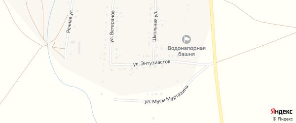 Улица Энтузиастов на карте деревни Таштуя с номерами домов