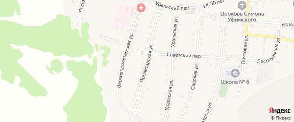 Пролетарская улица на карте села Миндяка с номерами домов
