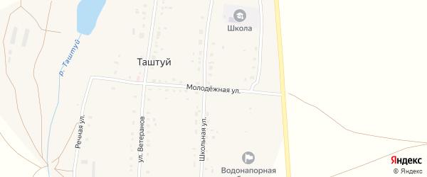 Молодежная улица на карте деревни Таштуя с номерами домов