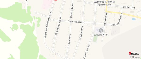 Уральская улица на карте села Миндяка с номерами домов