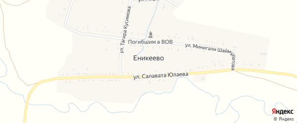 Улица Минигали Шаймуратова на карте деревни Еникеево с номерами домов