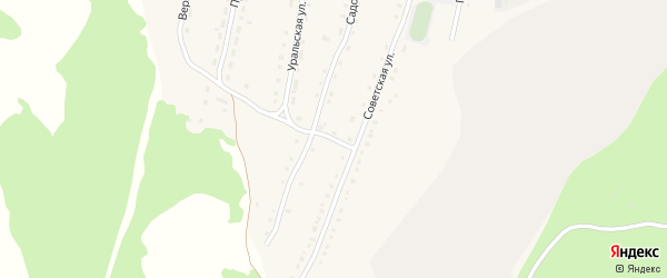 Советский 2-й переулок на карте села Миндяка с номерами домов