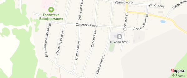 Садовая улица на карте села Миндяка с номерами домов