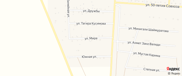 Улица Мира на карте Янгельского села с номерами домов