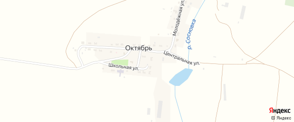 Центральная улица на карте деревни Октября с номерами домов