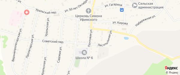 Почтовая улица на карте села Миндяка с номерами домов