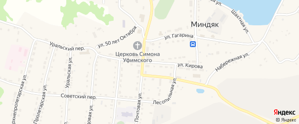 Улица Кирова на карте села Миндяка с номерами домов