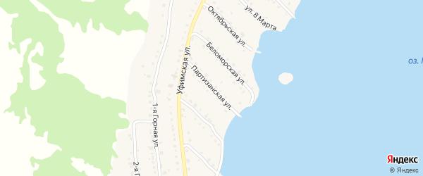 Партизанская улица на карте села Миндяка с номерами домов