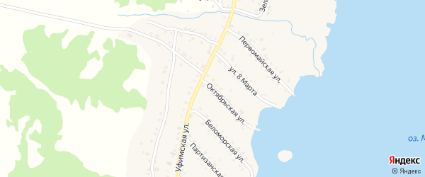 Октябрьская улица на карте села Миндяка с номерами домов