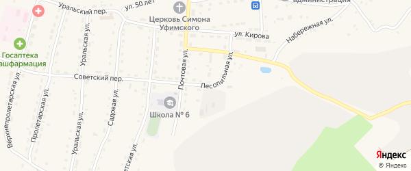 Лесопильная улица на карте села Миндяка с номерами домов