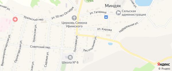 Лесопильный переулок на карте села Миндяка с номерами домов