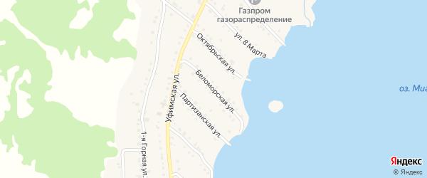 Беломорская улица на карте села Миндяка с номерами домов