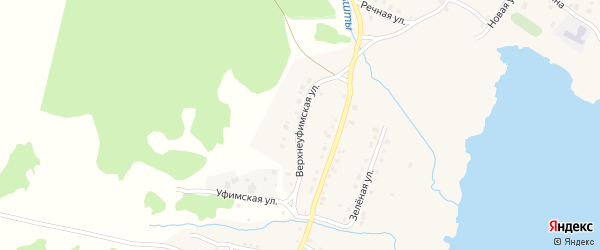 Верхнеуфимская улица на карте села Миндяка с номерами домов