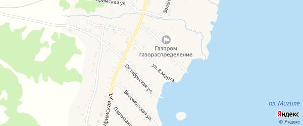 Улица 8 Марта на карте села Миндяка с номерами домов