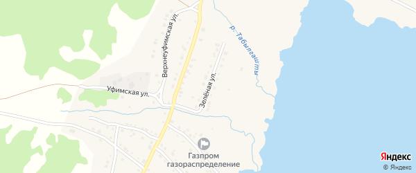 Зеленая улица на карте села Миндяка с номерами домов
