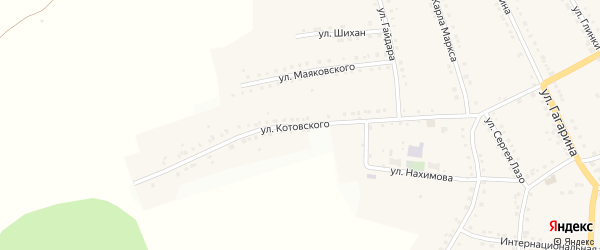 Улица Котовского на карте поселка Рудничного с номерами домов