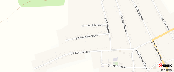 Улица Маяковского на карте поселка Рудничного с номерами домов
