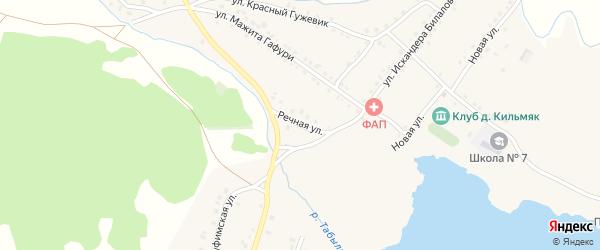 Речная улица на карте села Миндяка с номерами домов