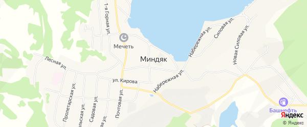 Карта села Миндяка в Башкортостане с улицами и номерами домов