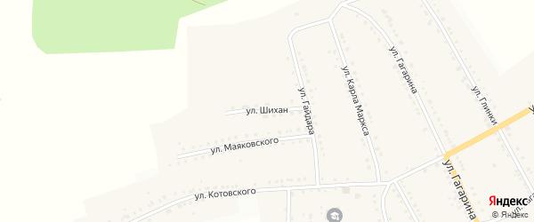 Улица Шихан на карте поселка Рудничного с номерами домов