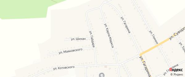 Улица Гайдара на карте поселка Рудничного с номерами домов