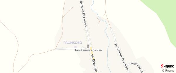 Улица Верхнее Рафиково на карте села Миндяка с номерами домов