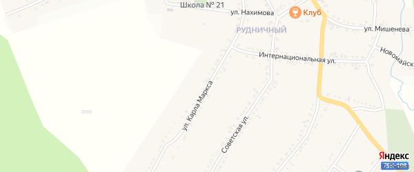 Улица Карла Маркса на карте поселка Рудничного с номерами домов