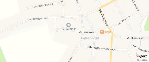 Улица Нахимова на карте поселка Рудничного с номерами домов