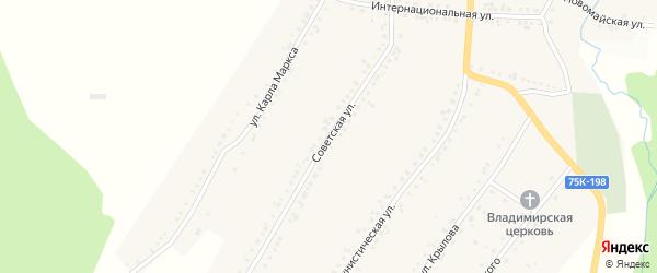 Советская улица на карте поселка Рудничного с номерами домов