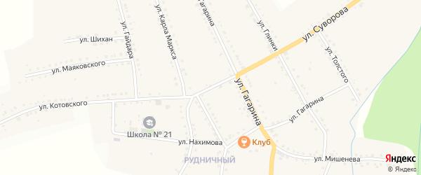 Улица Радищева на карте поселка Рудничного с номерами домов