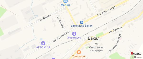 Октябрьская улица на карте Бакала с номерами домов