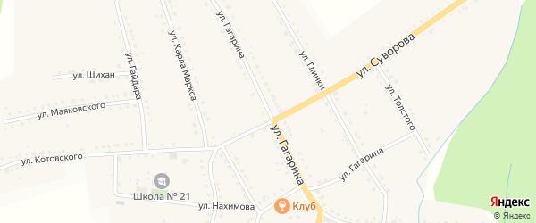 Улица Гагарина на карте поселка Рудничного с номерами домов