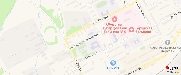 Улица Андрея Костылева на карте Бакала с номерами домов