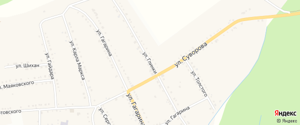 Улица Глинки на карте поселка Рудничного с номерами домов