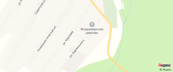 Улица Карпинского на карте поселка Рудничного с номерами домов
