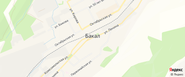 Карта поселка Рудничного города Бакала в Челябинской области с улицами и номерами домов