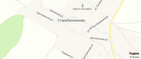 Центральная улица на карте деревни Старобалапаново с номерами домов