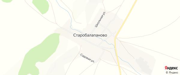 Карта деревни Старобалапаново в Башкортостане с улицами и номерами домов