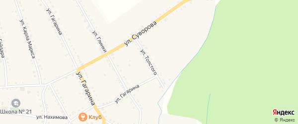 Улица Толстого на карте поселка Рудничного с номерами домов
