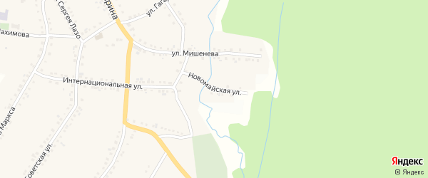 Новомайская улица на карте поселка Рудничного с номерами домов
