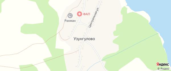 Центральная улица на карте деревни Узунгулово с номерами домов