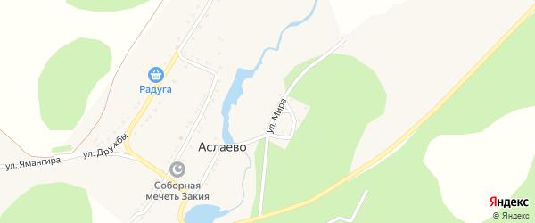Центральная улица на карте деревни Аслаево с номерами домов