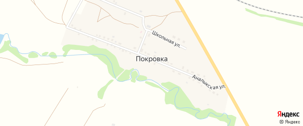 Горная улица на карте деревни Покровки с номерами домов