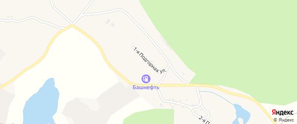 Подгорная 1-я улица на карте села Миндяка с номерами домов