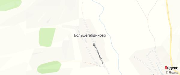 Карта деревни Большегабдиново в Башкортостане с улицами и номерами домов