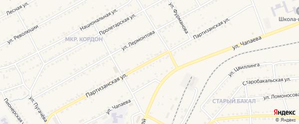 Партизанская улица на карте Бакала с номерами домов