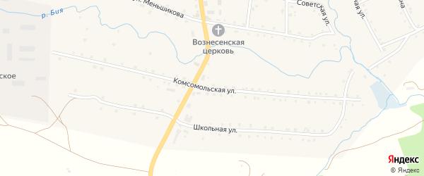 Комсомольская улица на карте села Айлино с номерами домов