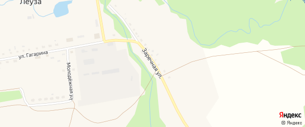 Заречная улица на карте села Леузы с номерами домов