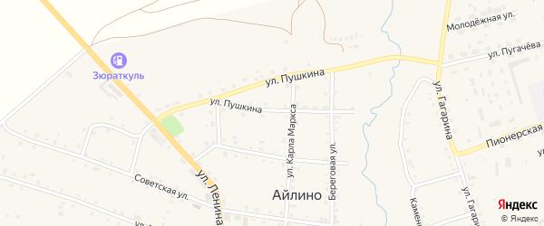 Улица Пушкина на карте села Айлино с номерами домов